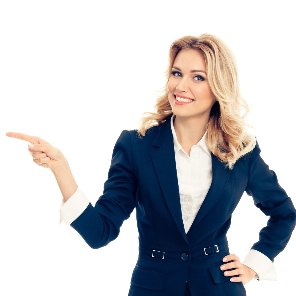 Smiling young businesswoman, showing something, some product or blank copyspace area for advertise slogan or text message, isolated over white background. Caucasian blond model in business success concept.